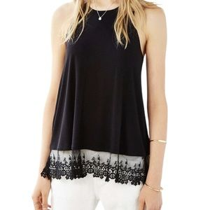 Kimchi Blue Black Tank Top With Lace Trim